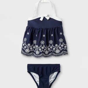 NEW 6-9 month swim suit 2pieve embroidered navy